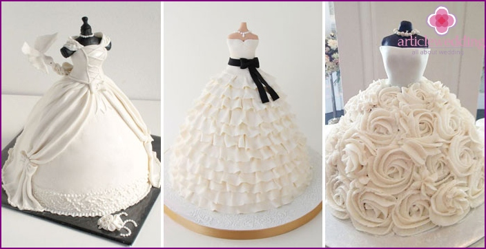 Excellent desserts in the form of a wedding dress