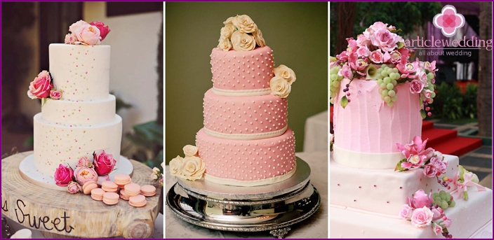 Pink Cake decorated with flowers