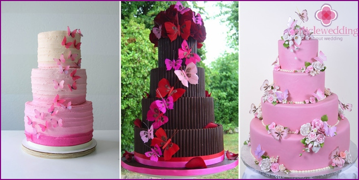 Pink cake decorated with butterflies