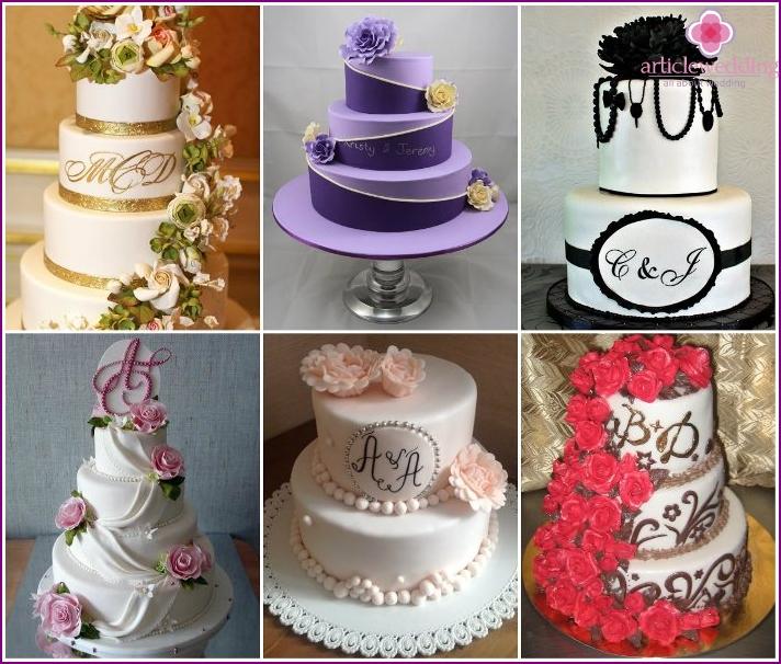 Decoration wedding goodies initials newlyweds