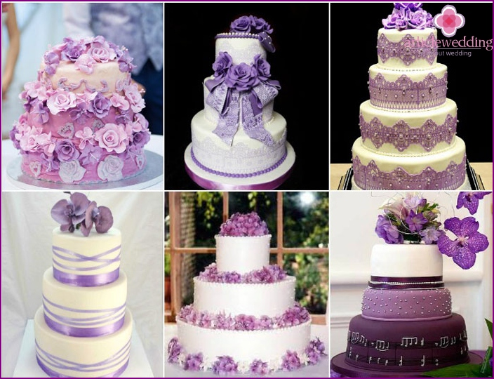 Ideas for dessert purple decoration on wedding