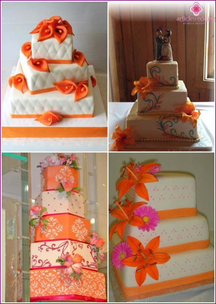 Square cakes for weddings orange color
