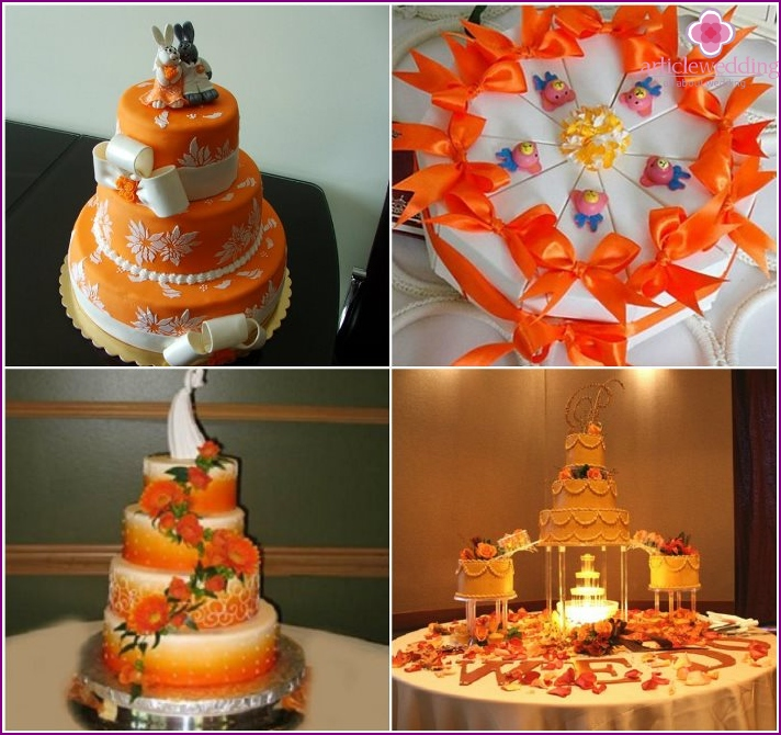 Pies orange color to the wedding