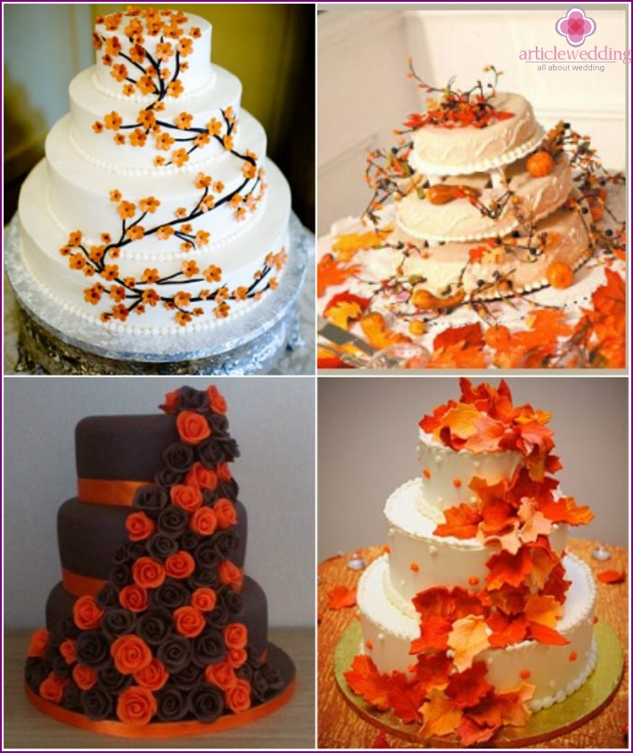 Threaded decor orange desserts for the wedding