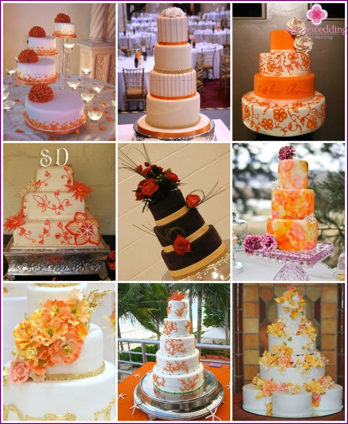 The orange cakes for weddings
