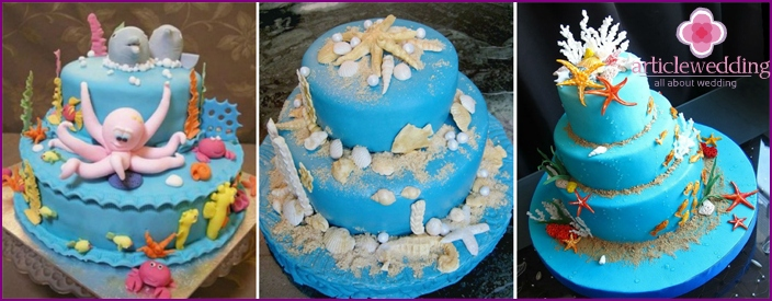 Cake with edible figurines of marine life