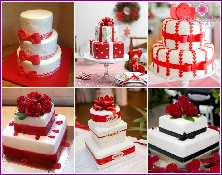 Wedding cakes in the form of a gift box