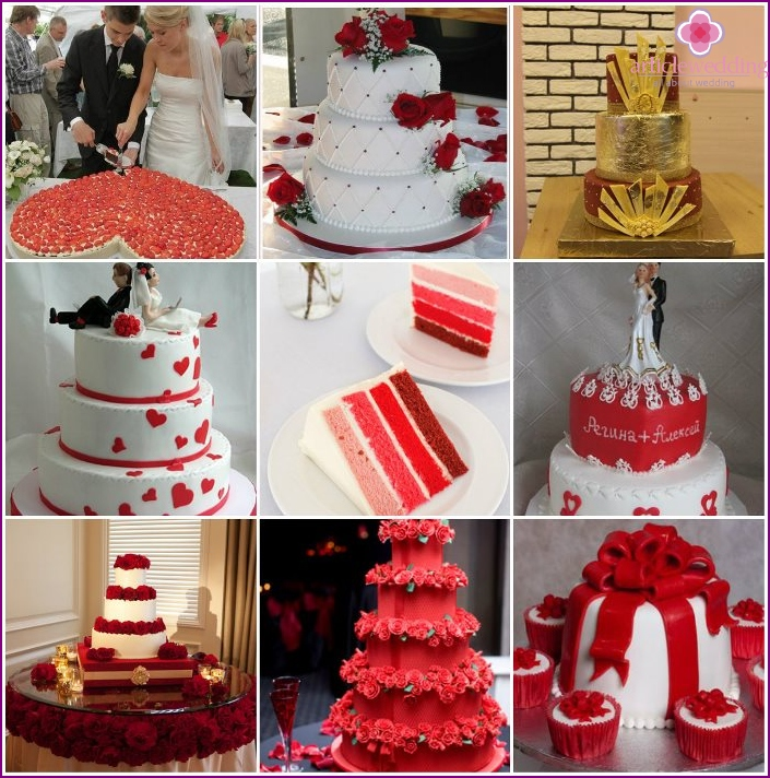 Wedding cakes in red-and-white
