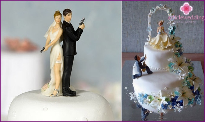 Figurines on wedding baking