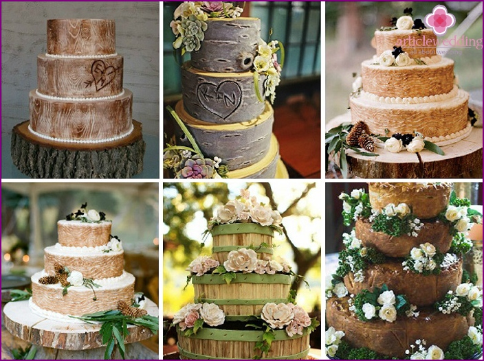 Wedding sweet rustic-woodpile