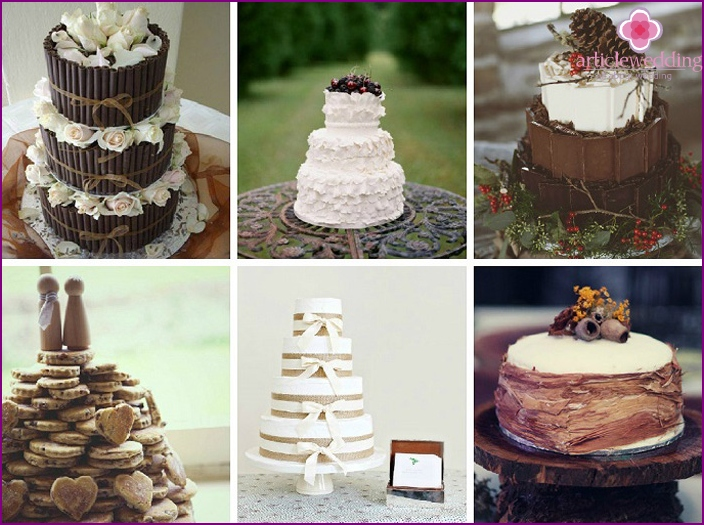 Cake for wedding rustic style