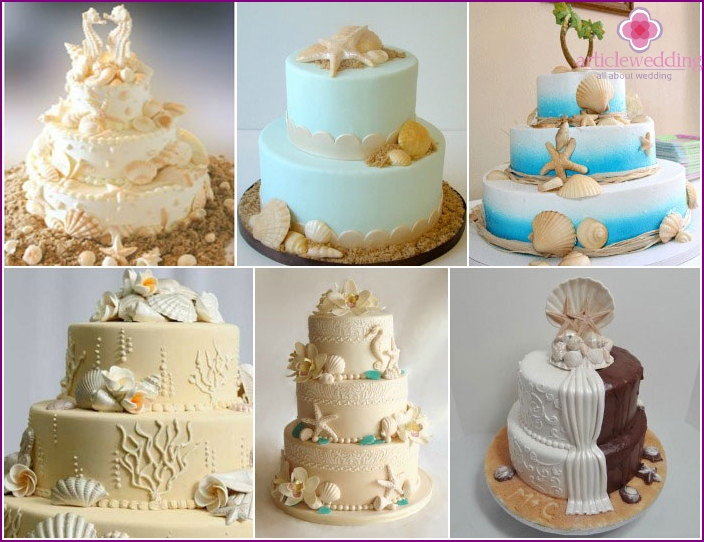 Shells - a beautiful decoration for a wedding cake
