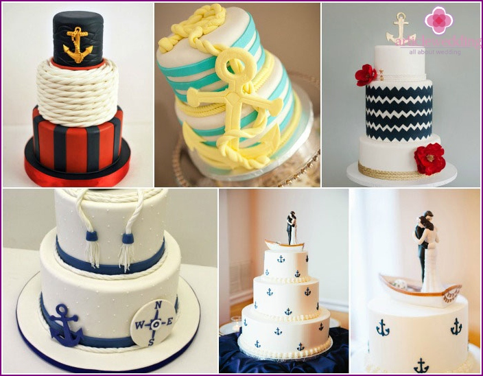 Anchors - a beautiful piece of decoration dessert newlyweds