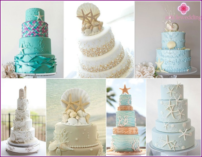 Decorating the wedding cake: corals with starfish