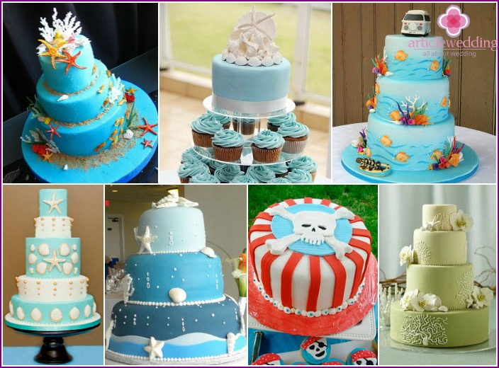 Ideas for decoration of wedding cake sea