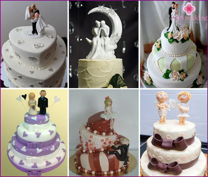 Cake with figures on a golden wedding anniversary