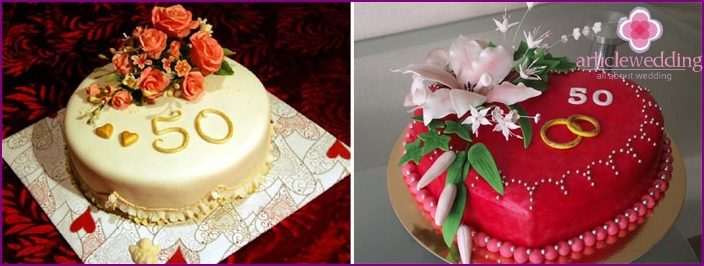 Cake with numbers on their golden wedding anniversary