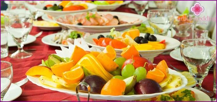 Delicious reduced calorie menu for wedding