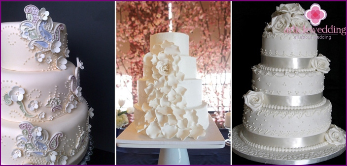 Options decor white wedding cakes