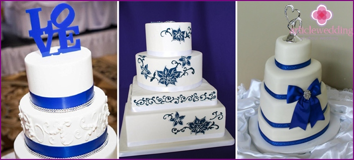 The combination of blue and white in cake decoration