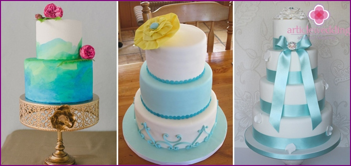 Blue and white cakes