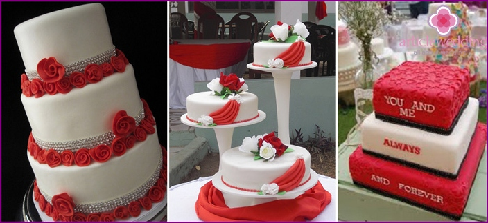 Red and white cake for newlyweds