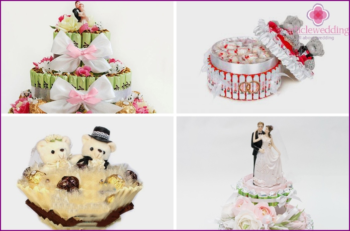 Desserts with figures of newlyweds