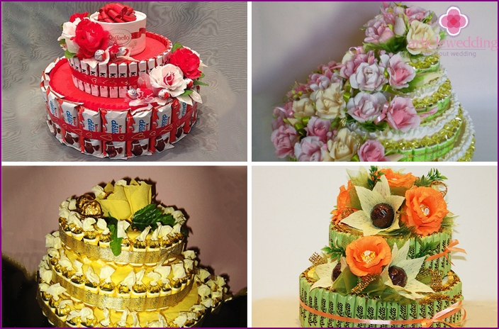 Wedding cakes from several types of chocolates