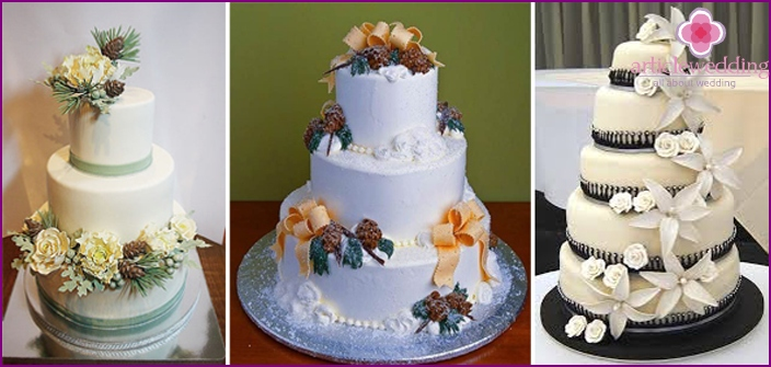 Multilevel cakes at a celebration in the winter