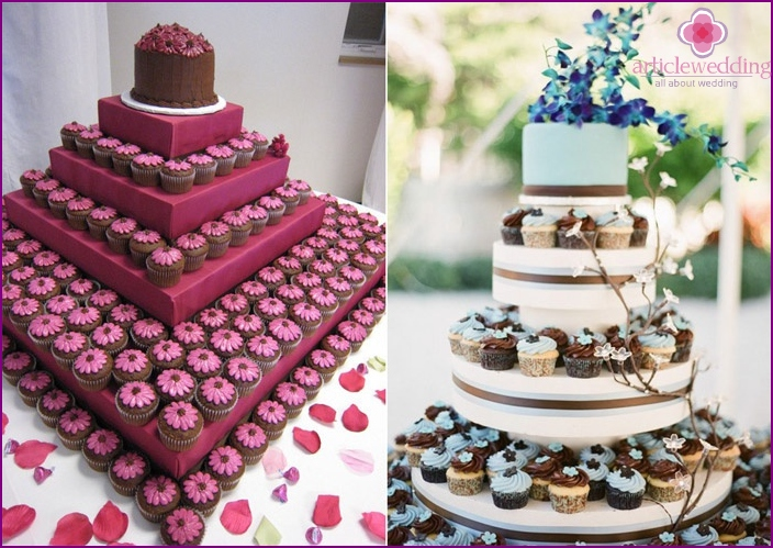 The color scheme of the wedding pastries