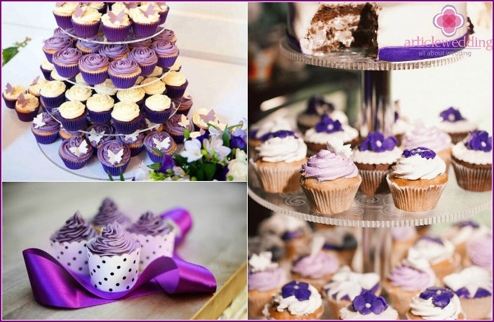 Violet cakes-cupcakes for a wedding