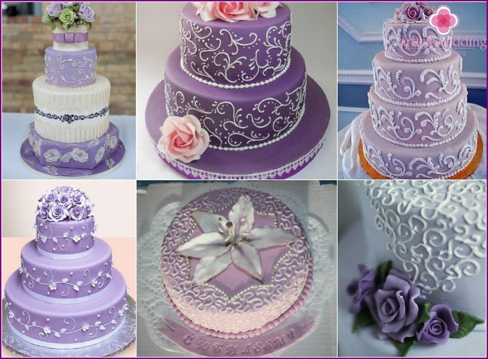 Openwork ornament for dessert purple for wedding