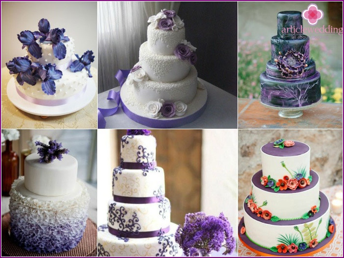 Ideas for decorating a wedding cake purple