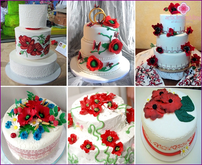 Ukrainian Wedding cake with poppies