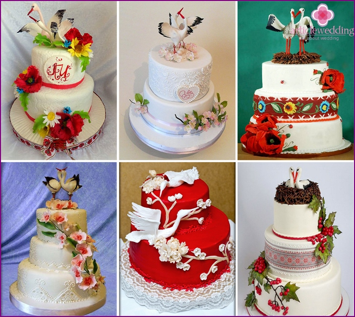 Wedding cake with storks in Ukrainian