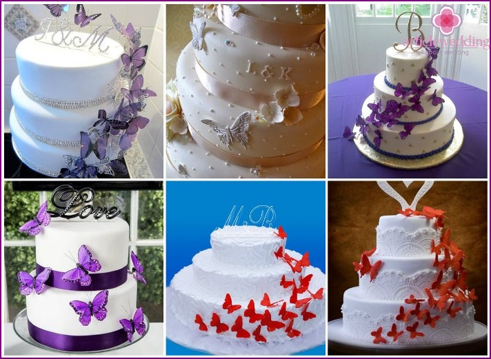 Cake with butterflies and the initials of the newlyweds