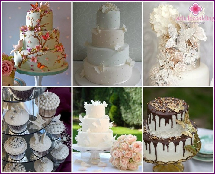 Cakes with original butterflies on the wedding