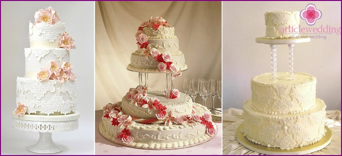 Three-tiered lace cake on a stand