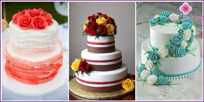 Wedding cakes metallic colors