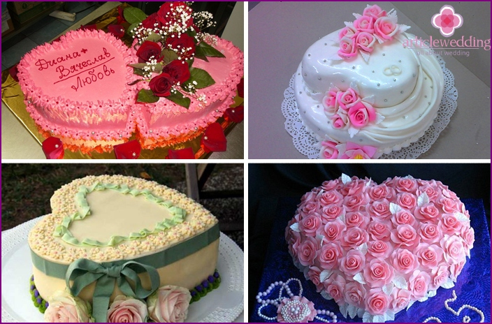 Wedding cake with roses in the form of heart