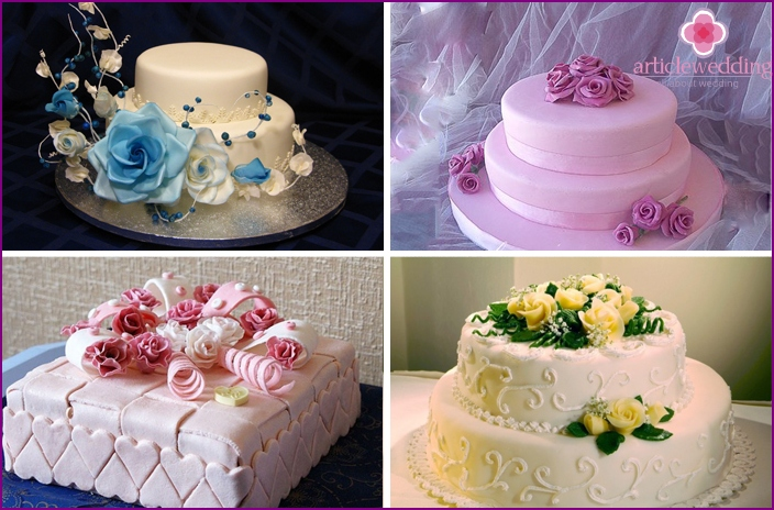 Cake with flowers from sugar mastic