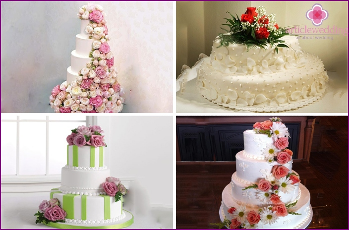 Cakes decorated with live roses