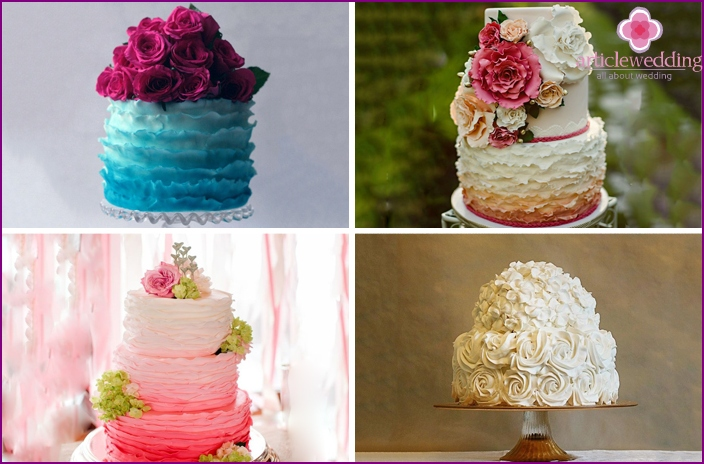 Wedding cakes with cream effect Ombre