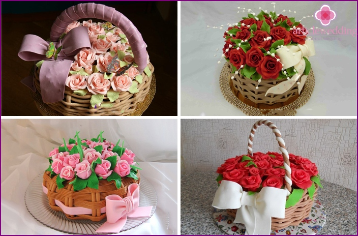 Cakes in the form of a basket of roses