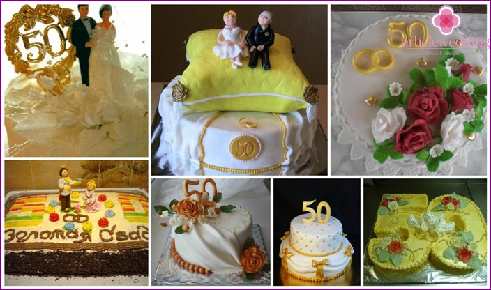 Cake golden wedding