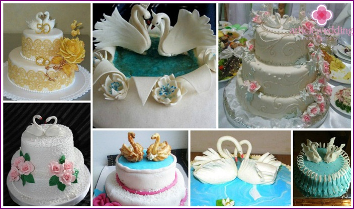 Swan fidelity: cake on wedding anniversary