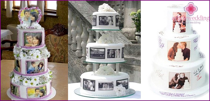 Cake with honeymooners photos
