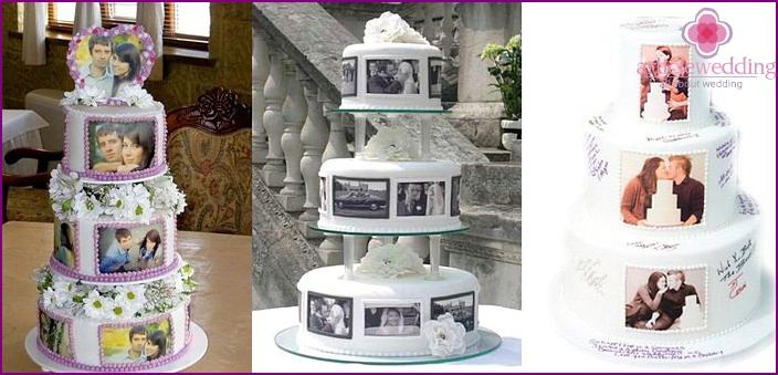 Cake with honeymooners photos