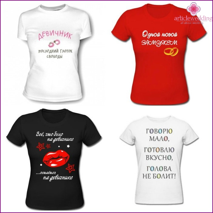 T-shirts for a bachelorette party with funky slogans