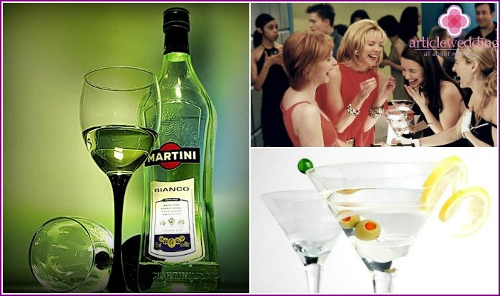 "Martini - bachelorette party drink in the ""Tiffany"" style"
